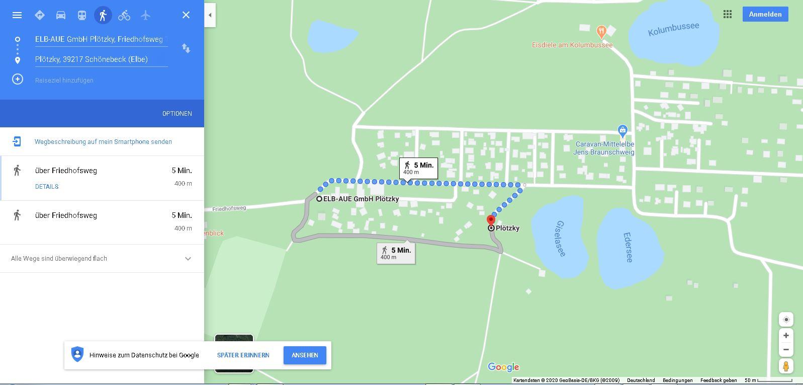 Link Naturparcours falconrider Karte auf Google Maps